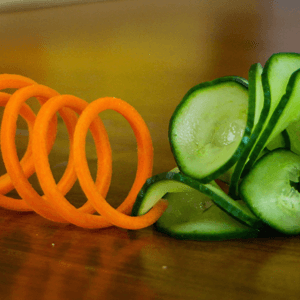 How to Make Carrot Slinky and Cucumber Garnish