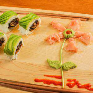 Pickled Ginger and Wasabi Garnish Flower Art for Sushi